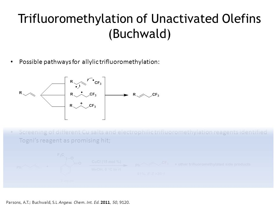 Trifluoromethylation of Unactivated Olefins (Buchwald) Possible pathways for allylic trifluoromethylation: Screening of different Cu salts and electrophilic trifluoromethylation reagents identified Togni's reagent as promising hit; Parsons, A.T.; Buchwald, S.L Angew.