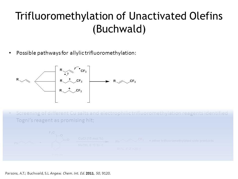 Trifluoromethylation of Unactivated Olefins (Buchwald) Possible pathways for allylic trifluoromethylation: Screening of different Cu salts and electro
