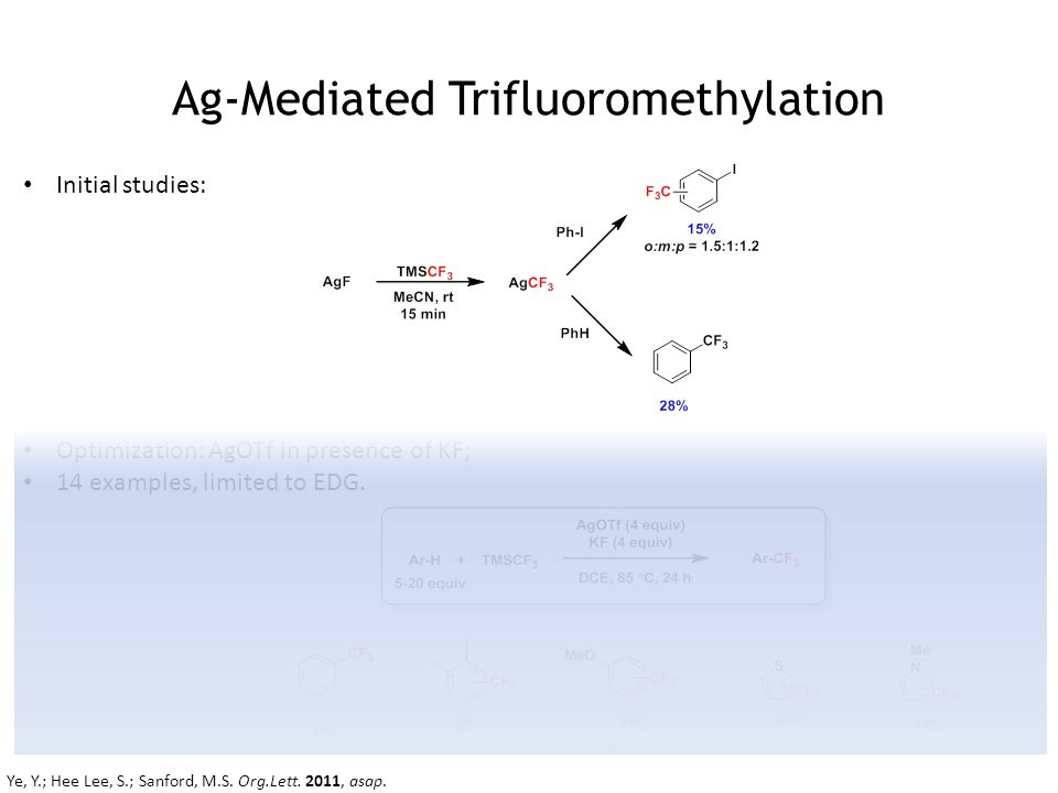 Ag-Mediated Trifluoromethylation Initial studies: Optimization: AgOTf in presence of KF; 14 examples, limited to EDG.