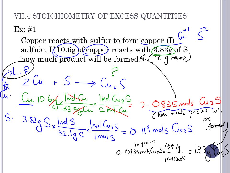 VII.4 STOICHIOMETRY OF EXCESS QUANTITIES Ex: #2 Mg (s) + 2HCl (g) → MgCl 2(s) + H 2(g) If 10.1 mol of magnesium and 4.87 mol of HCl gas are reacted, how many moles of gas will be produced.