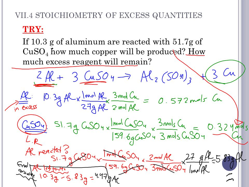 VII.4 STOICHIOMETRY OF EXCESS QUANTITIES TRY: If 10.3 g of aluminum are reacted with 51.7g of CuSO 4 how much copper will be produced.