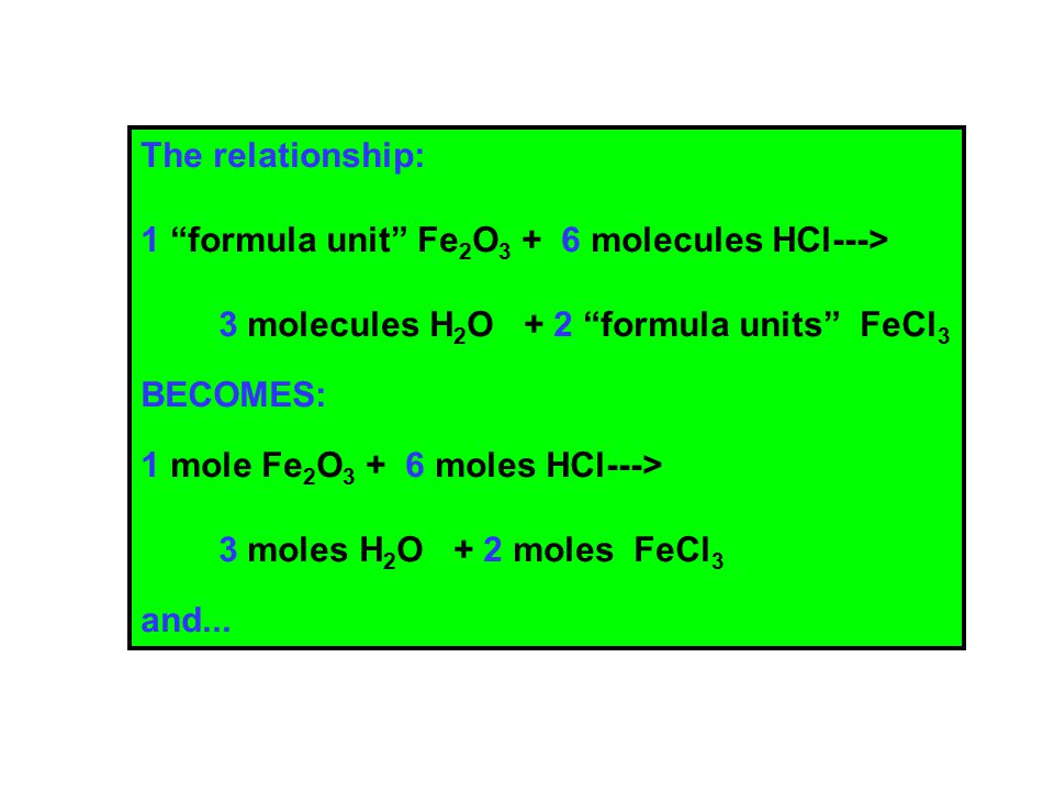 The relationship: 1 formula unit Fe 2 O 3 + 6 molecules HCl---> 3 molecules H 2 O + 2 formula units FeCl 3 BECOMES: 1 mole Fe 2 O 3 + 6 moles HCl---> 3 moles H 2 O + 2 moles FeCl 3 and...