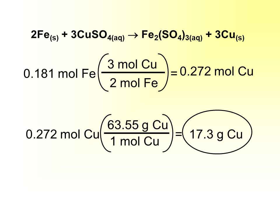 For example... If 10.1 g of iron are added to a solution of copper (II) sulfate, how much solid copper would form? 2 Fe (s) + 3 CuSO 4(aq)  Fe 2 (SO