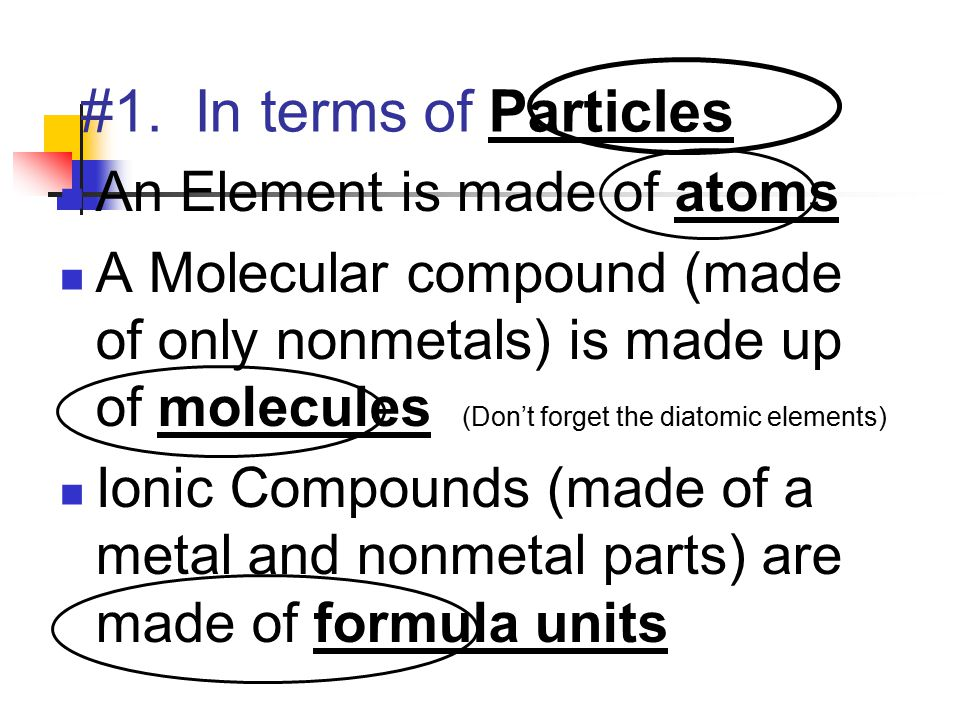 #1. In terms of Particles An Element is made of atoms A Molecular compound (made of only nonmetals) is made up of molecules (Don't forget the diatomic