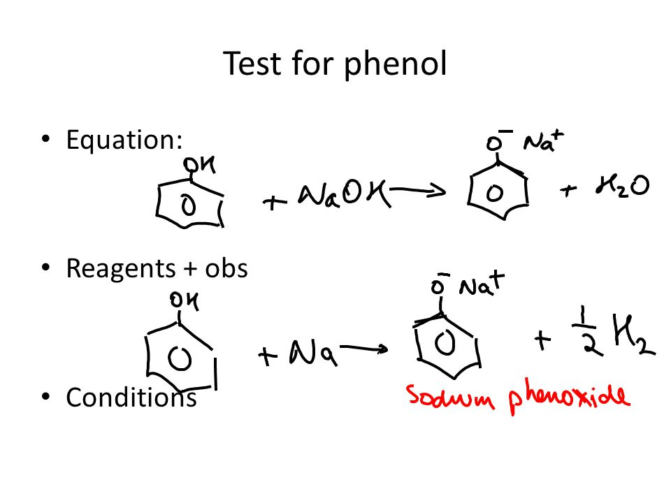 Equation only for phenol with (a) sodium hydroxide (b) sodium metal Equation NaOH: Equation Na: