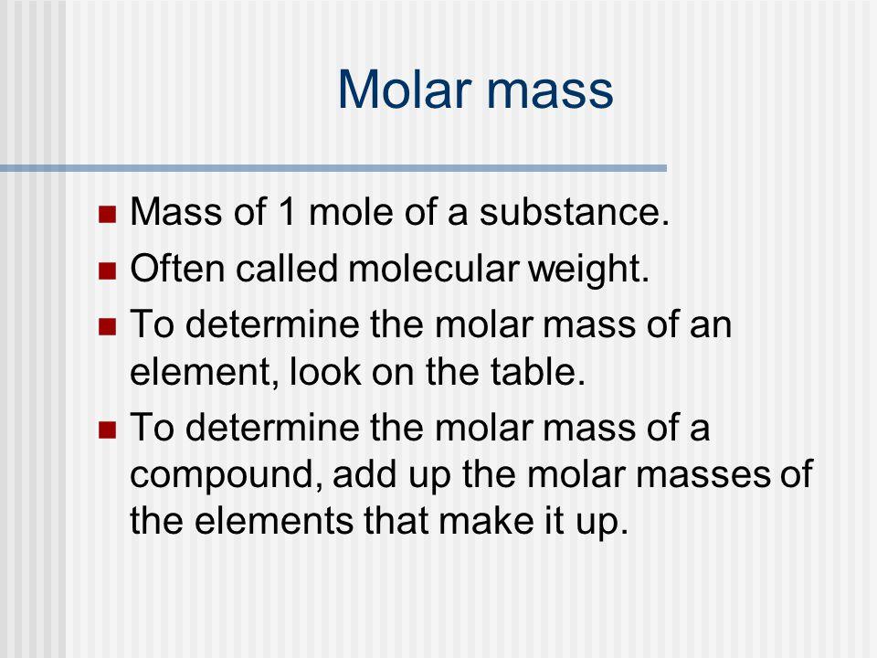 Molar mass Mass of 1 mole of a substance.Often called molecular weight.