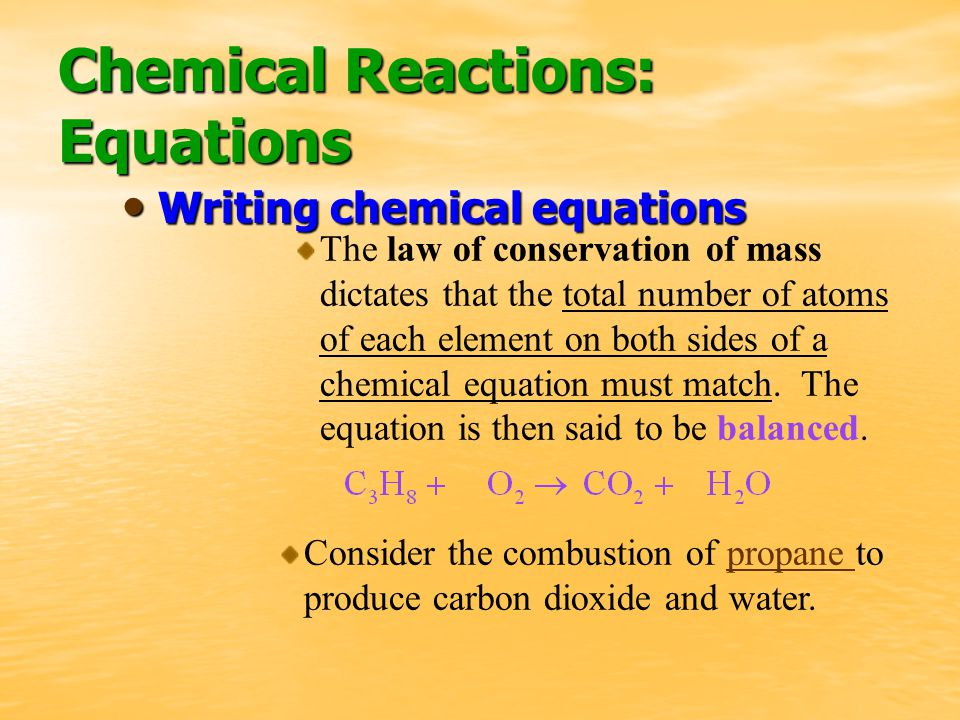 The law of conservation of mass dictates that the total number of atoms of each element on both sides of a chemical equation must match.