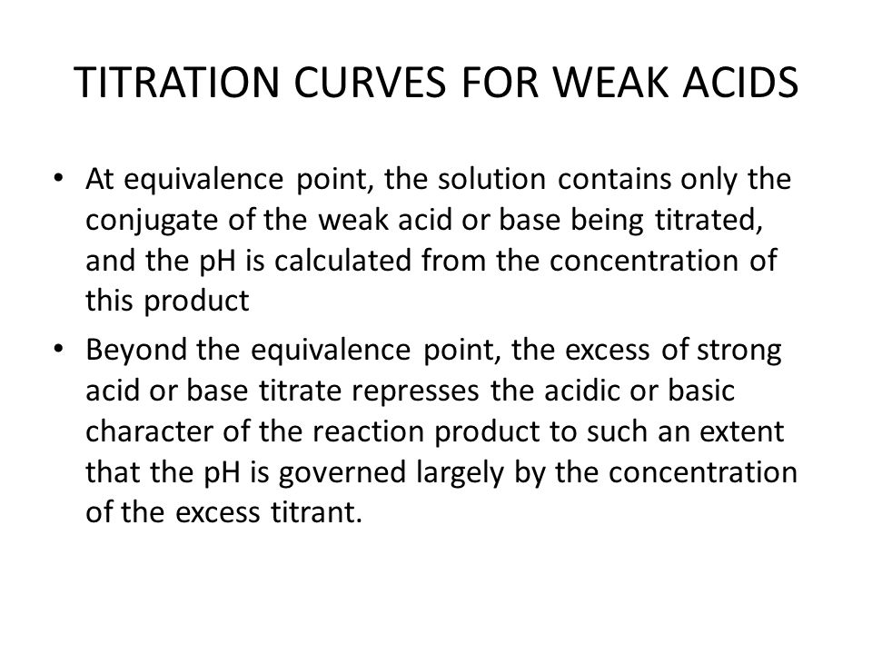 TITRATION CURVES FOR WEAK ACIDS At equivalence point, the solution contains only the conjugate of the weak acid or base being titrated, and the pH is calculated from the concentration of this product Beyond the equivalence point, the excess of strong acid or base titrate represses the acidic or basic character of the reaction product to such an extent that the pH is governed largely by the concentration of the excess titrant.