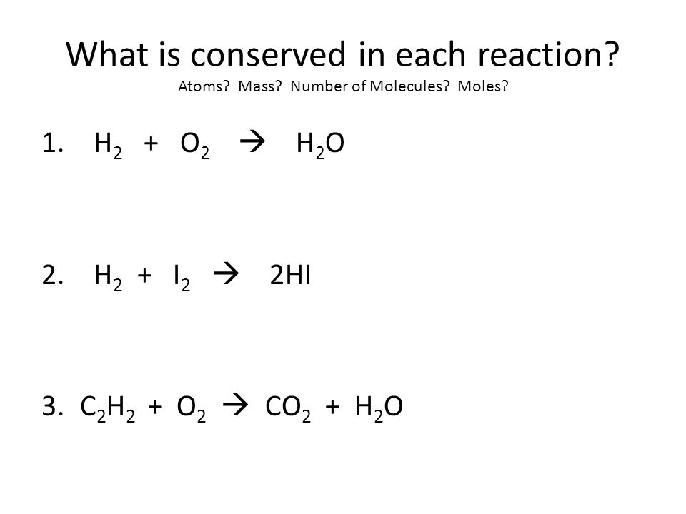 Calculations Mole ratio: Conversion factor using the coefficients of balanced chemical equations – Used to convert between moles of reactant and moles of product N 2 + 3H 2  2NH 3 1 mol3 mol2mol So…..