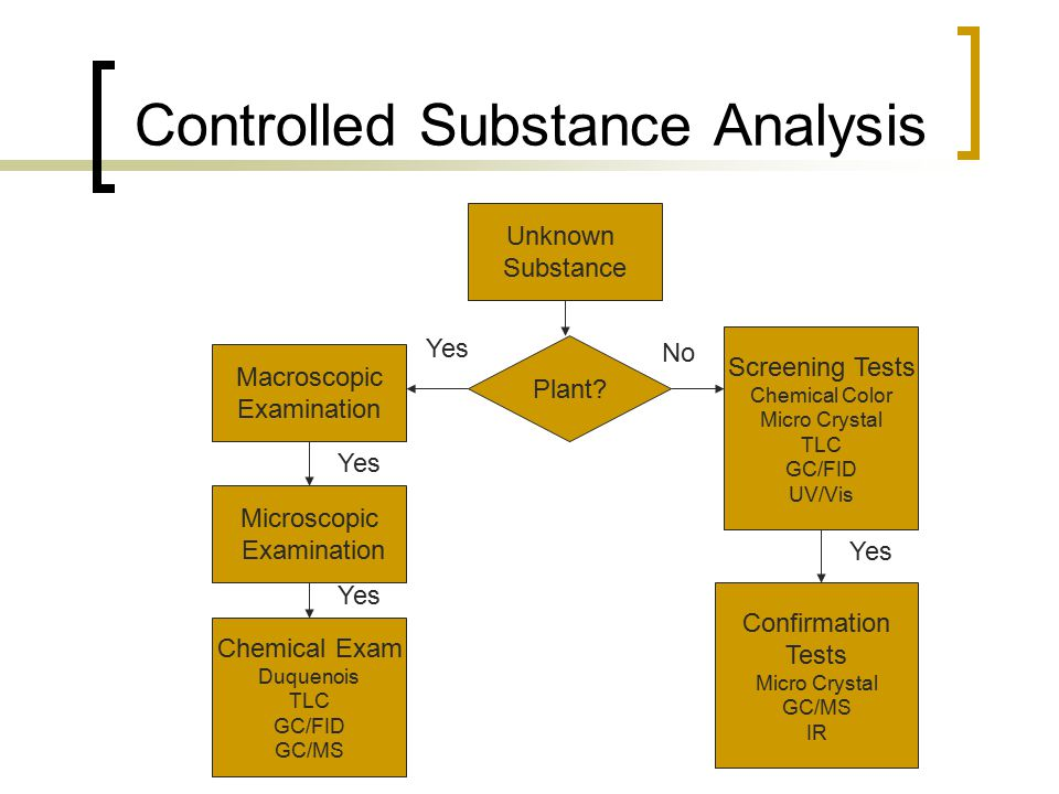 Controlled Substance Analysis Unknown Substance Plant? Confirmation Tests Micro Crystal GC/MS IR Microscopic Examination Macroscopic Examination Scree