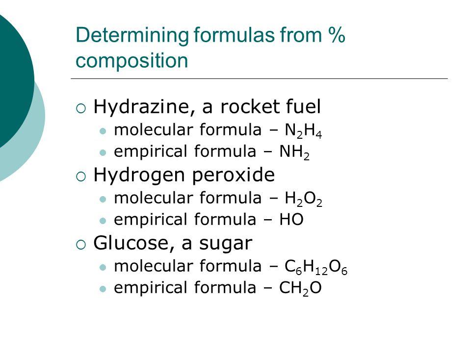 Determining formulas from % composition  Hydrazine, a rocket fuel molecular formula – N 2 H 4 empirical formula – NH 2  Hydrogen peroxide molecular formula – H 2 O 2 empirical formula – HO  Glucose, a sugar molecular formula – C 6 H 12 O 6 empirical formula – CH 2 O