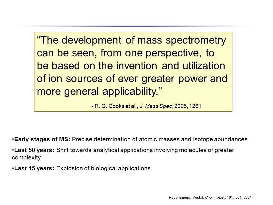 The development of mass spectrometry can be seen, from one perspective, to be based on the invention and utilization of ion sources of ever greater power and more general applicability. - R.