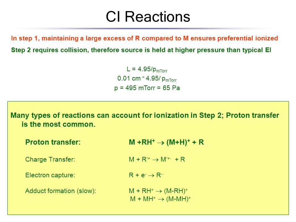 CI Reactions Many types of reactions can account for ionization in Step 2; Proton transfer is the most common.