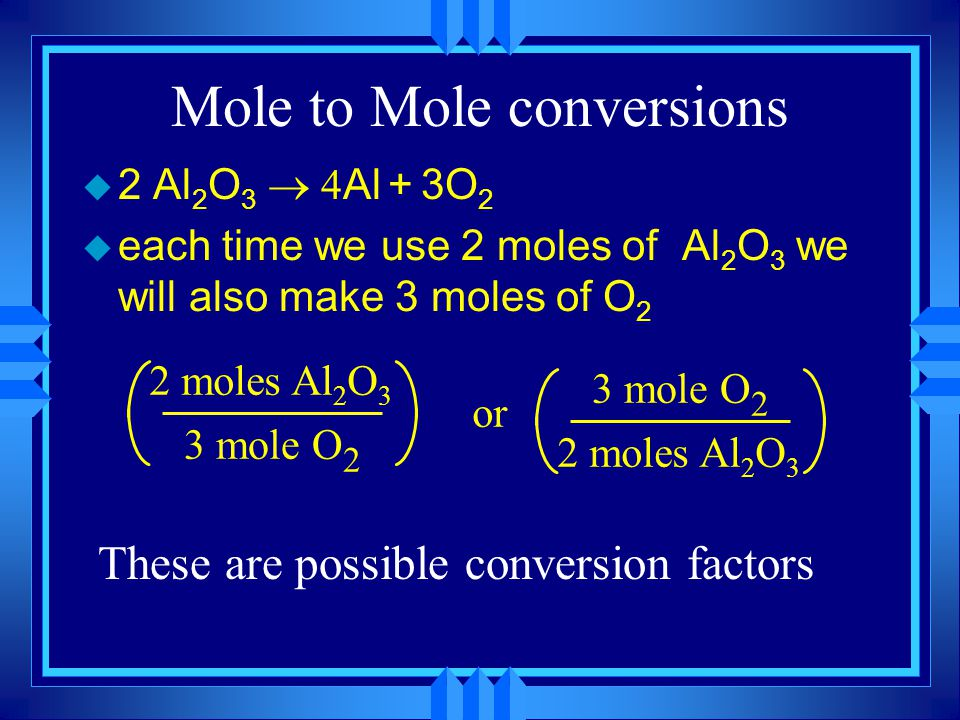 2. In terms of Moles  2 Al 2 O 3  Al + 3O 2  2Na + 2H 2 O  2NaOH + H 2 u The coefficients tell us how many moles of each substance