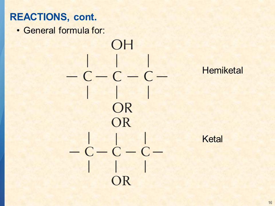 16 REACTIONS, cont. General formula for: Hemiketal Ketal