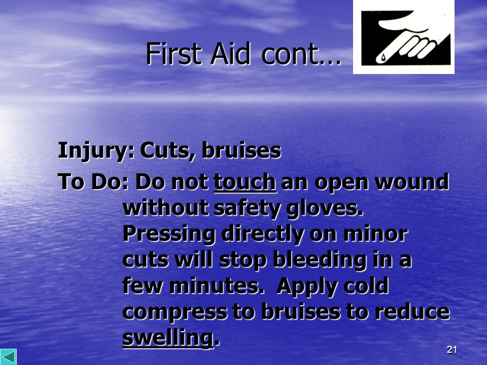 21 First Aid cont… Injury: Cuts, bruises To Do: Do not touch an open wound without safety gloves.