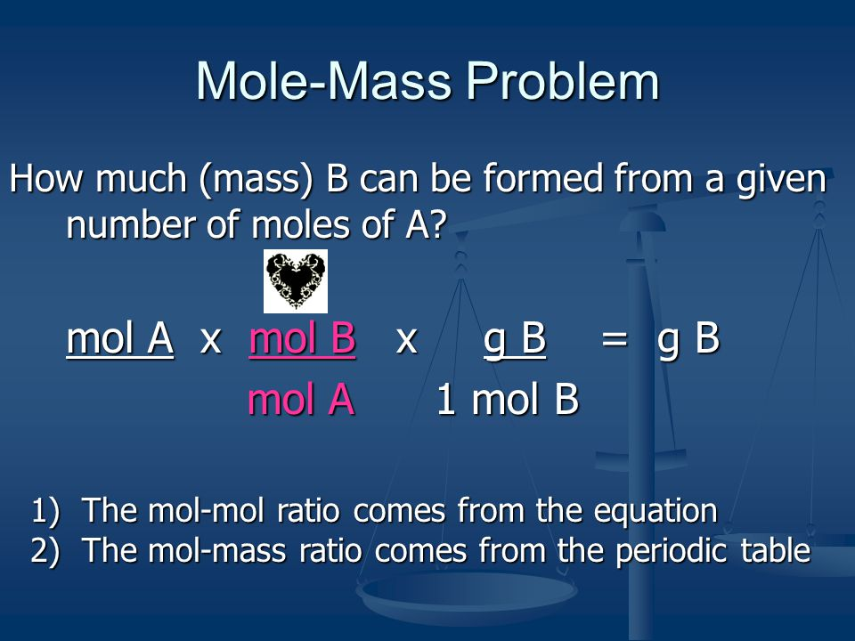 Mole-Mass Problem How much (mass) B can be formed from a given number of moles of A? mol A x mol B x g B = g B mol A 1 mol B mol A 1 mol B 1) The mol-