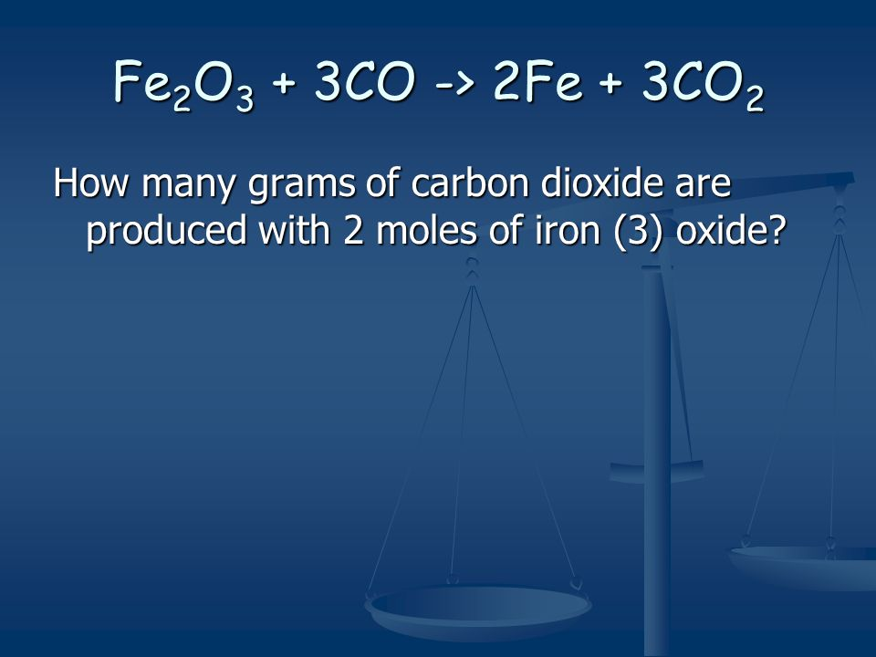 Fe 2 O 3 + 3CO -> 2Fe + 3CO 2 How many grams of carbon dioxide are produced with 2 moles of iron (3) oxide?