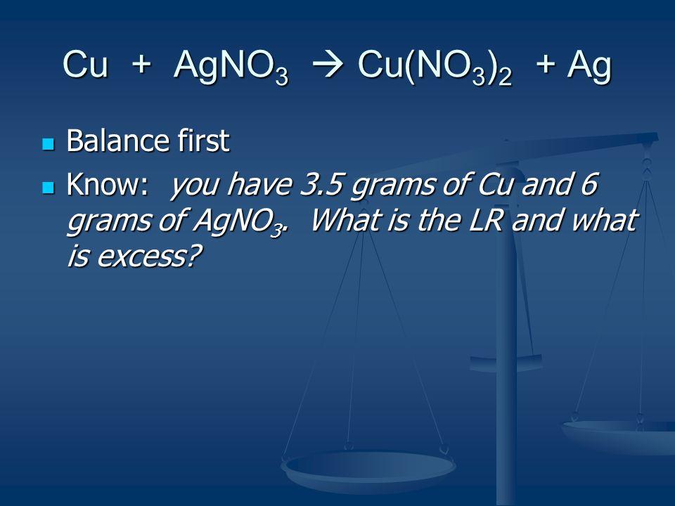 Cu + AgNO 3  Cu(NO 3 ) 2 + Ag 3.5 grams of Cu / 6 grams of AgNO 3 3.5 grams of Cu / 6 grams of AgNO 3