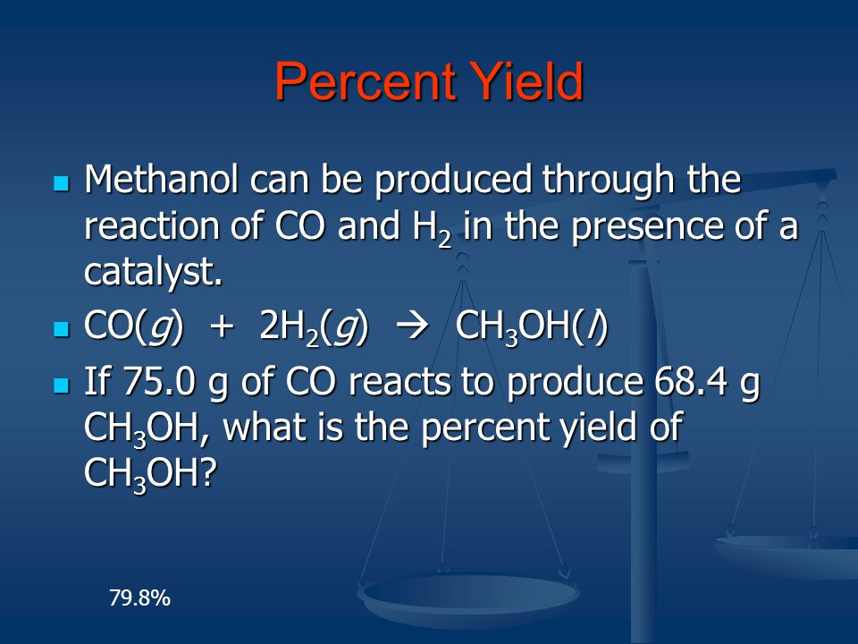 Percent Yield Methanol can be produced through the reaction of CO and H 2 in the presence of a catalyst. Methanol can be produced through the reaction