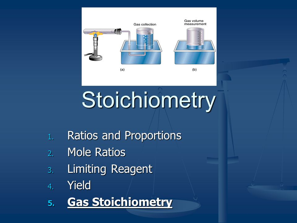 Stoichiometry 1. Ratios and Proportions 2. Mole Ratios 3. Limiting Reagent 4. Yield 5. Gas Stoichiometry