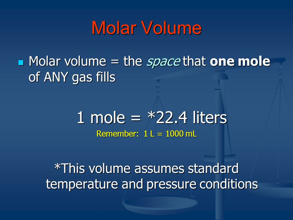 Molar Volume 1) A quantity of gas has a volume of 124.5 cm 3. How many moles of gas are there?