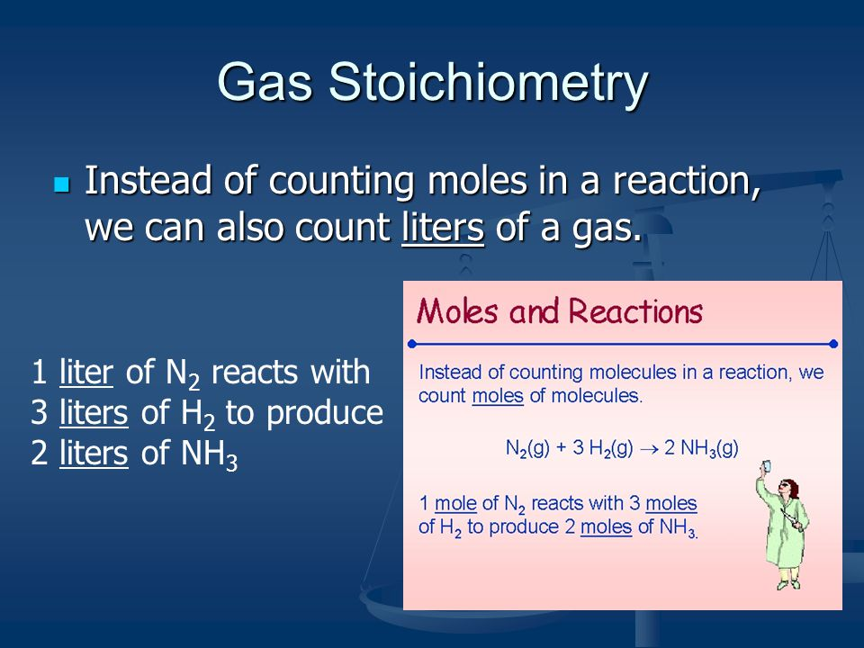 Gas Stoichiometry Instead of counting moles in a reaction, we can also count liters of a gas. Instead of counting moles in a reaction, we can also cou