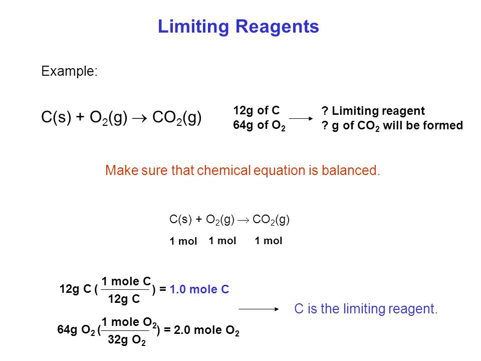Limiting Reagents Limiting reagents can control a reaction: N 2 (g) + O 2 (g)  2NO(g) Limiting reagent: is the reactant that is used up first.