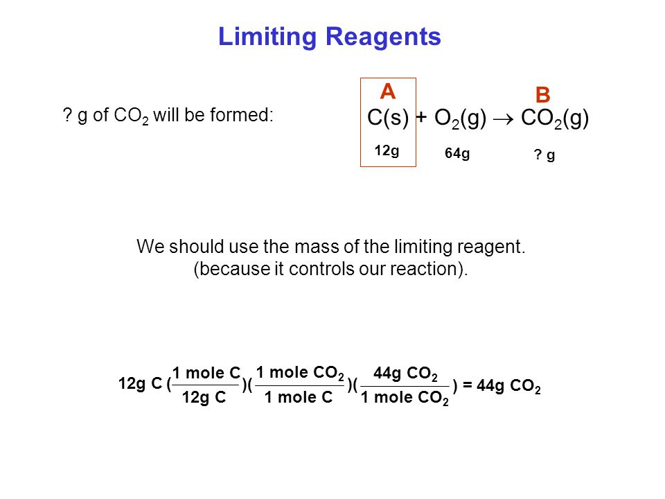 Limiting Reagents Example: C(s) + O 2 (g)  CO 2 (g) 12g of C 64g of O 2 .