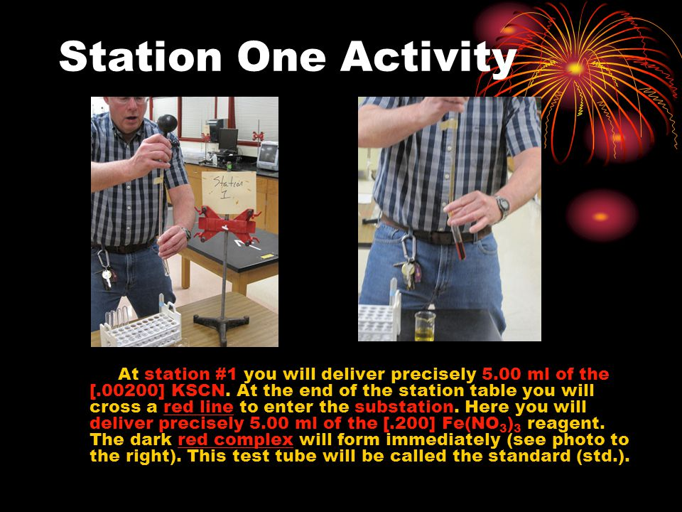 Station One Activity At station #1 you will deliver precisely 5.00 ml of the [.00200] KSCN.