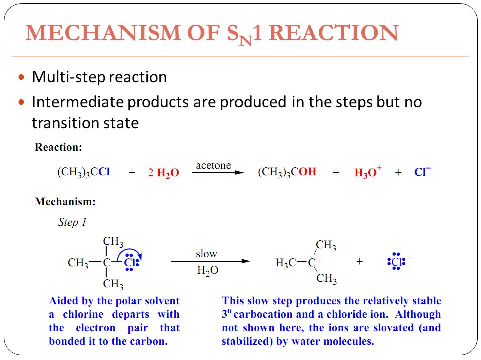 MECHANISM OF S N 1 REACTION Multi-step reaction Intermediate products are produced in the steps but no transition state