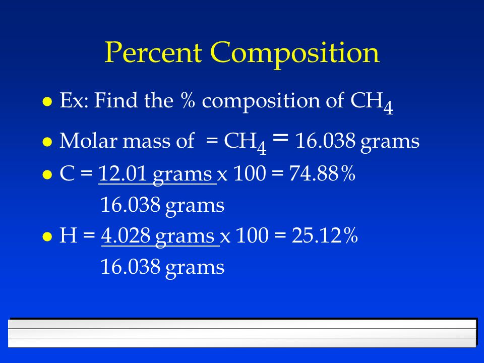 Working backwards l From percent composition, you can determine the empirical formula.