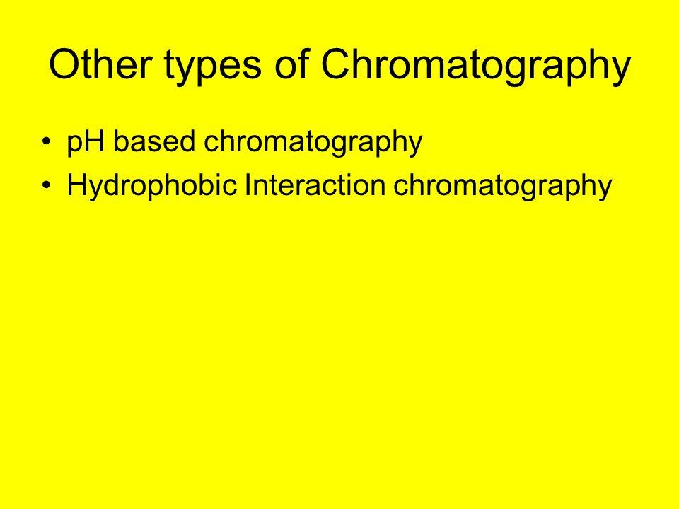 Other types of Chromatography pH based chromatography Hydrophobic Interaction chromatography
