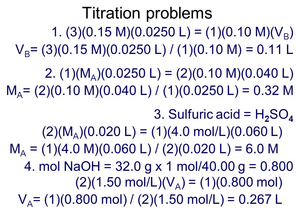 Titration problems 1.