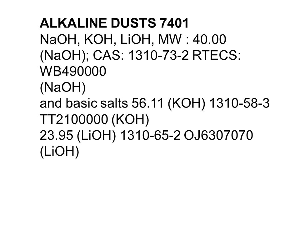 ALKALINE DUSTS 7401 NaOH, KOH, LiOH, MW : 40.00 (NaOH); CAS: 1310-73-2 RTECS: WB490000 (NaOH) and basic salts 56.11 (KOH) 1310-58-3 TT2100000 (KOH) 23.95 (LiOH) 1310-65-2 OJ6307070 (LiOH)