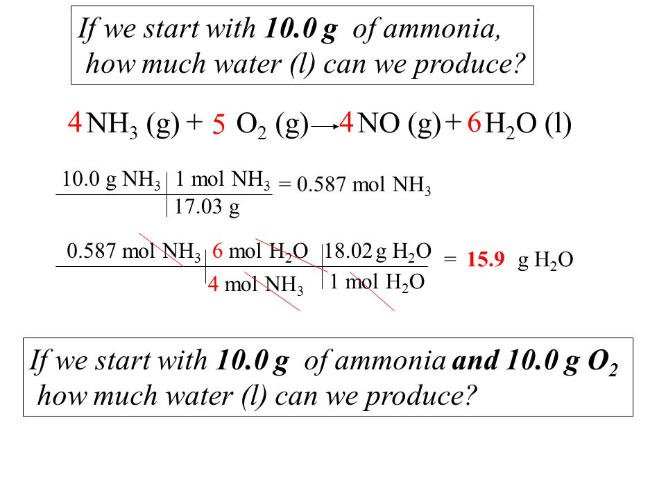 If we start with 10.0 g of ammonia and 10.0 g O 2 how much water (l) can we produce.
