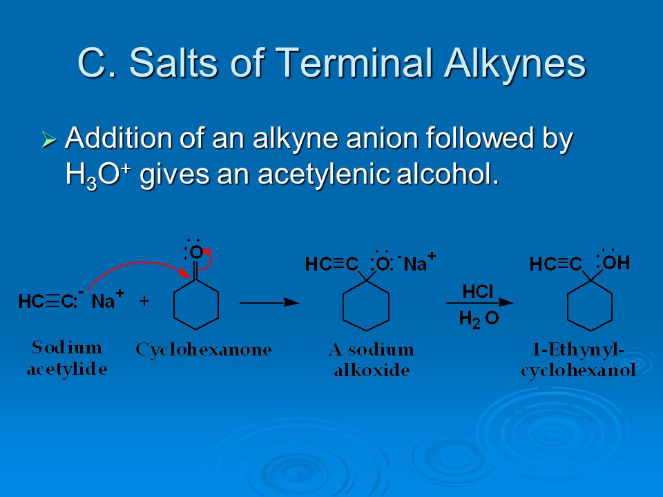 C. Salts of Terminal Alkynes  Addition of an alkyne anion followed by H 3 O + gives an acetylenic alcohol.