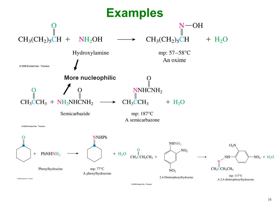 36 Examples More nucleophilic