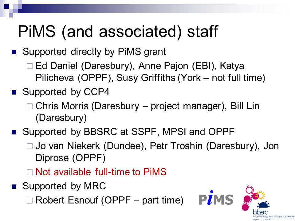 PiMS (and associated) staff Supported directly by PiMS grant  Ed Daniel (Daresbury), Anne Pajon (EBI), Katya Pilicheva (OPPF), Susy Griffiths (York – not full time) Supported by CCP4  Chris Morris (Daresbury – project manager), Bill Lin (Daresbury) Supported by BBSRC at SSPF, MPSI and OPPF  Jo van Niekerk (Dundee), Petr Troshin (Daresbury), Jon Diprose (OPPF)  Not available full-time to PiMS Supported by MRC  Robert Esnouf (OPPF – part time)