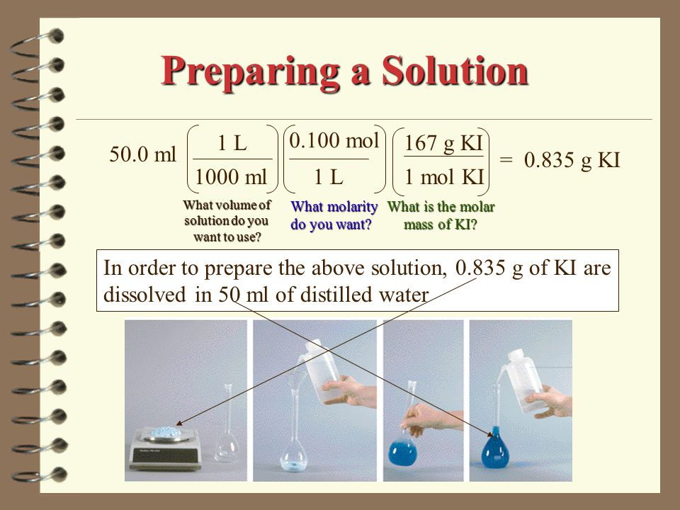 Let's assume that a 0.10 M solution of lead (II) nitrate is going to be prepared from a pre-existing 0.75 M solution Preparing a Solution The second approach involves There are two approaches to preparing solutions.