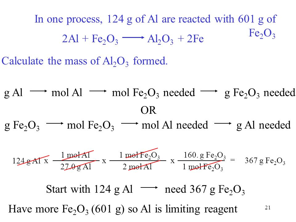 21 In one process, 124 g of Al are reacted with 601 g of Fe 2 O 3 2Al + Fe 2 O 3 Al 2 O 3 + 2Fe Calculate the mass of Al 2 O 3 formed. g Almol Almol F