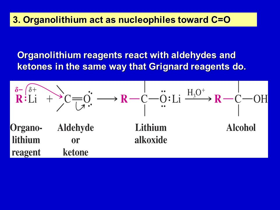Organolithium act as nucleophiles toward C=O 3. Organolithium act as nucleophiles toward C=O Organolithium reagents react with aldehydes and ketones i