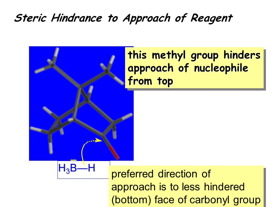 this methyl group hinders approach of nucleophile from top H 3 B—H – preferred direction of approach is to less hindered (bottom) face of carbonyl group preferred direction of approach is to less hindered (bottom) face of carbonyl group Steric Hindrance to Approach of Reagent