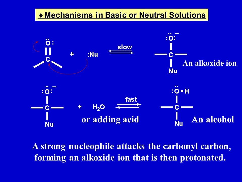 or adding acid A strong nucleophile attacks the carbonyl carbon, forming an alkoxide ion that is then protonated.