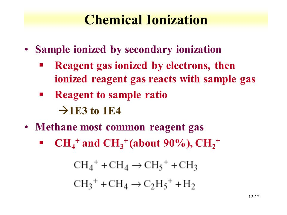 12-12 Chemical Ionization Sample ionized by secondary ionization §Reagent gas ionized by electrons, then ionized reagent gas reacts with sample gas §Reagent to sample ratio à1E3 to 1E4 Methane most common reagent gas §CH 4 + and CH 3 + (about 90%), CH 2 +