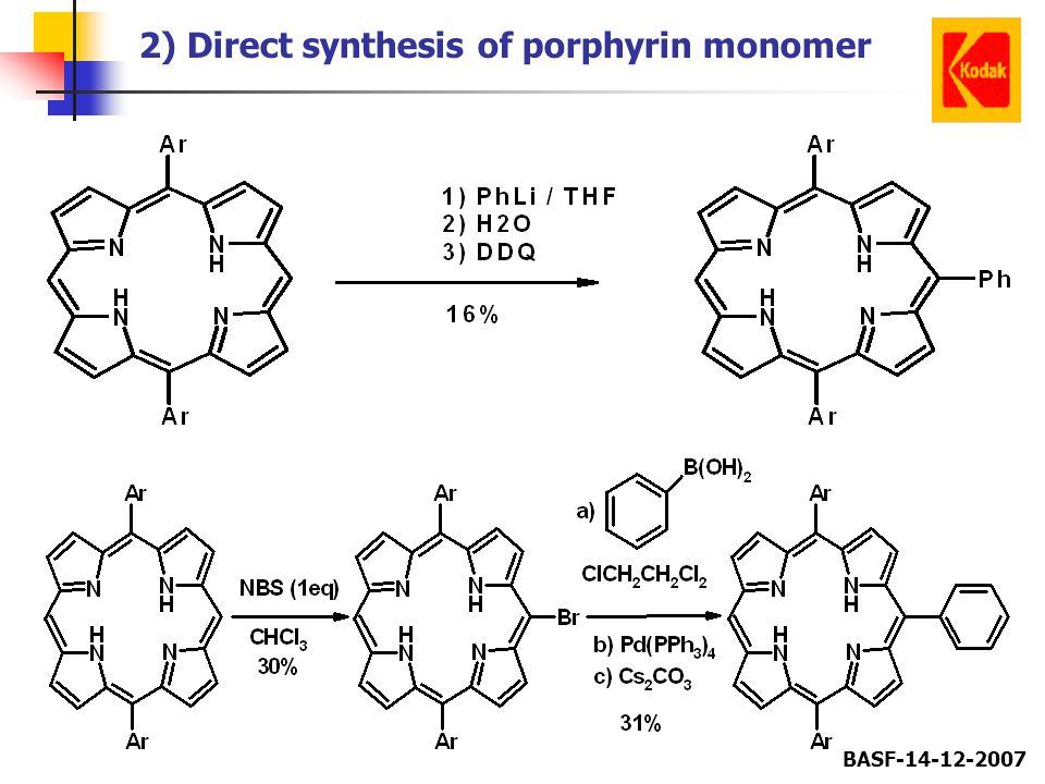 BASF-14-12-2007 2) Direct synthesis of porphyrin monomer