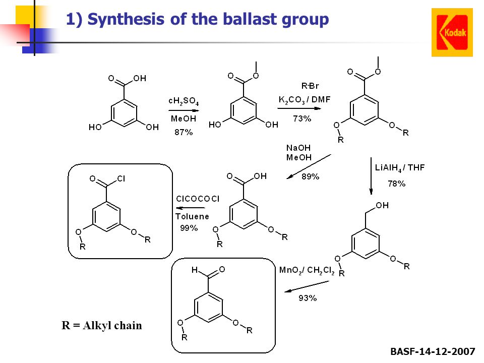 BASF-14-12-2007 1) Synthesis of the ballast group R = Alkyl chain