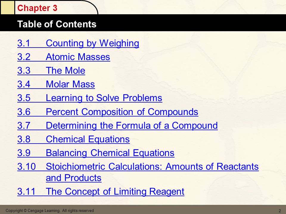 Chapter 3 Table of Contents Copyright © Cengage Learning.
