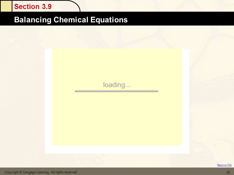 Section 3.9 Balancing Chemical Equations Return to TOC Copyright © Cengage Learning.