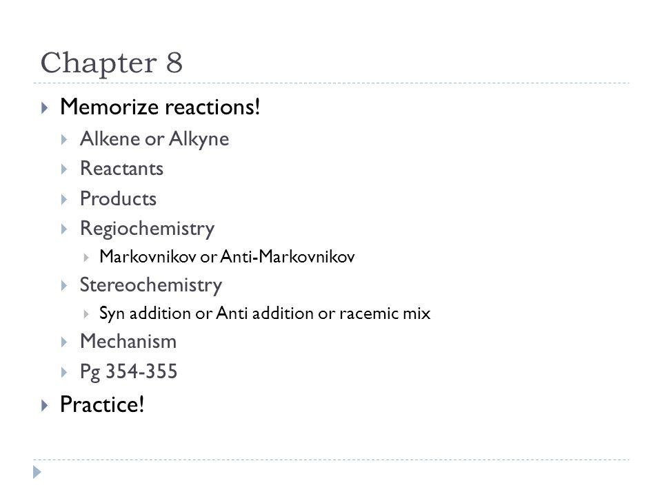 Chapter 8  Memorize reactions.